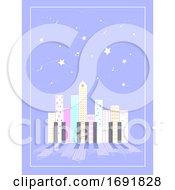 Night Music Piano Urban Building Illustration
