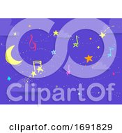 Night Music Sky Star Notes Illustration