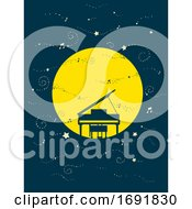 Night Sky Piano Moon Illustration