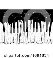 Piano Trees Woods Illustration