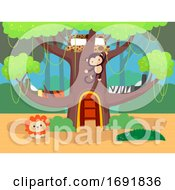 Kids Bedroom Jungle Theme Illustration