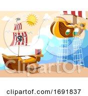 Kids Bedroom Pirate Theme Illustration