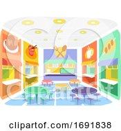 Indoor Food Court Illustration