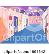 School Corridor Decorated Illustration