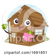 Mascot Cabin Off Grid Save Money Illustration