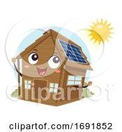 Poster, Art Print Of Mascot Cabin Off Grid Solar Panel Illustration