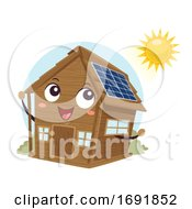 Mascot Cabin Off Grid Solar Panel Illustration