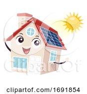 Poster, Art Print Of Mascot House Solar Panel Illustration