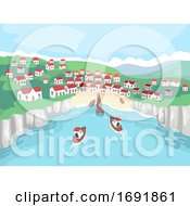 Seaside Village Scene Boat Illustration