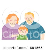 Kid Boy Fat Family Illustration