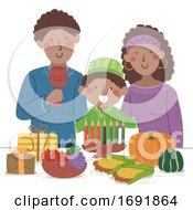 Kid Boy Family Celebrate Kwanzaa Illustration