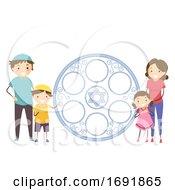 Stickman Jewish Family Passover Plate Illustration