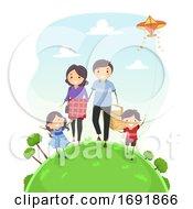 Poster, Art Print Of Stickman Family Walk Picnic Illustration