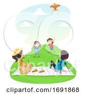 Poster, Art Print Of Stickman Family Picnic Flying Kite Illustration