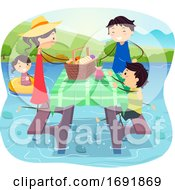 Stickman Family Over Water Picnic Illustration