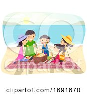 Stickman Family Beach Picnic Illustration