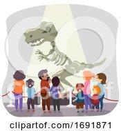 Stickman Family Dinosaur Museum Illustration