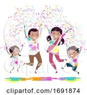 Stickman Family Holi Powder Jump Illustration