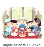 Family Jewish Passover Dinner Illustration