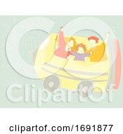 Poster, Art Print Of Family Educational Trip Pencil Illustration