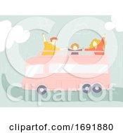 Poster, Art Print Of Family Trip Bus Illustration