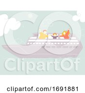 Poster, Art Print Of Family Trip Cruise Ship Illustration