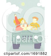 Family Trip Jeep Illustration