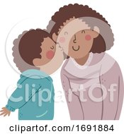 Poster, Art Print Of Kid Boy Black Kiss Mom Cheek Illustration