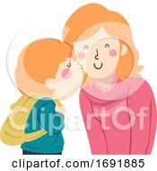 Poster, Art Print Of Kid Boy Kiss Mom Cheek Illustration
