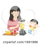 Kid Boy Mom Fruit Smoothie Illustration