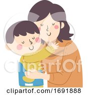 Kid Boy Mom Parent Support Scoliosis Illustration