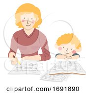 Kid Boy Mother Make Homework Illustration