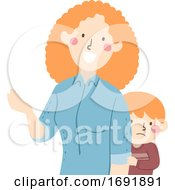 Kid Boy Timid Parent Mom Talking Illustration