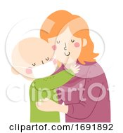 Kid Mom Hug Support Leukemia Illustration