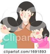 Kid Siblings Conflict Mother Cry Illustration