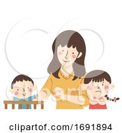 Kids Mom Baby Jealous Siblings Illustration