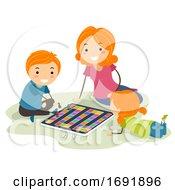 Stickman Kids Mom Board Game Illustration