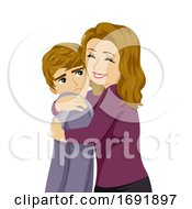 Teen Boy Mom Hug Feel Awkward Illustration
