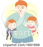 Poster, Art Print Of Kids Dad Man Quarrel Referee Illustration
