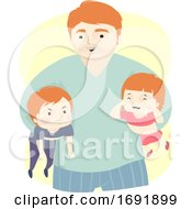 Kids Dad Man Quarrel Referee Illustration