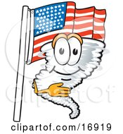 Clipart Picture Of A Tornado Mascot Cartoon Character Pledging Allegiance To An American Flag by Toons4Biz