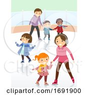 Stickman Kids Ice Skating Indoor Illustration