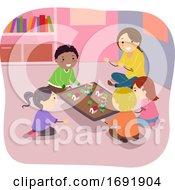 Stickman Kids Earthquake Experiment Illustration