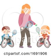 Poster, Art Print Of Kids Wheel Chair Tennis Coach Illustration