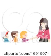 Poster, Art Print Of Kids Shake Hands Class Introduction Illustration