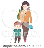 Kid Boy Special Need Teacher Help Illustration