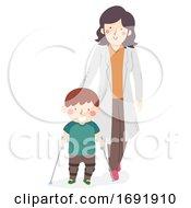 Kid Boy Leg Brace Therapist Illustration