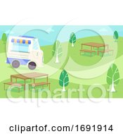 Food Truck Roam Park Illustration