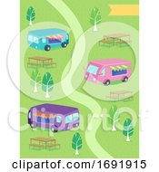 Food Trucks Path Benches Illustration