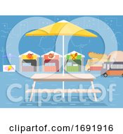 Outdoor Food Park Scene Illustration